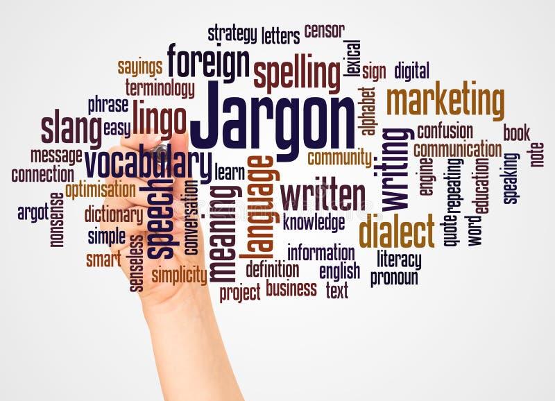 Nuage et main de mot de jargon avec le concept de marqueur illustration de vecteur
