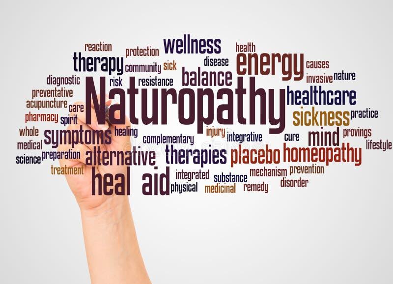 Nuage et main de mot de Naturopathy avec le concept de marqueur illustration stock