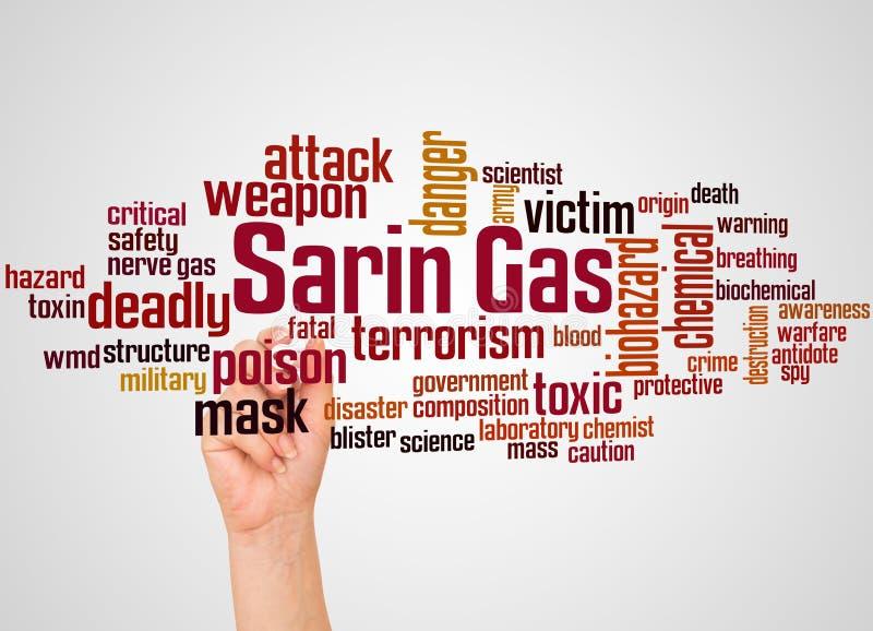 Nuage et main de mot de neurotoxique de Sarin avec le concept de marqueur images stock