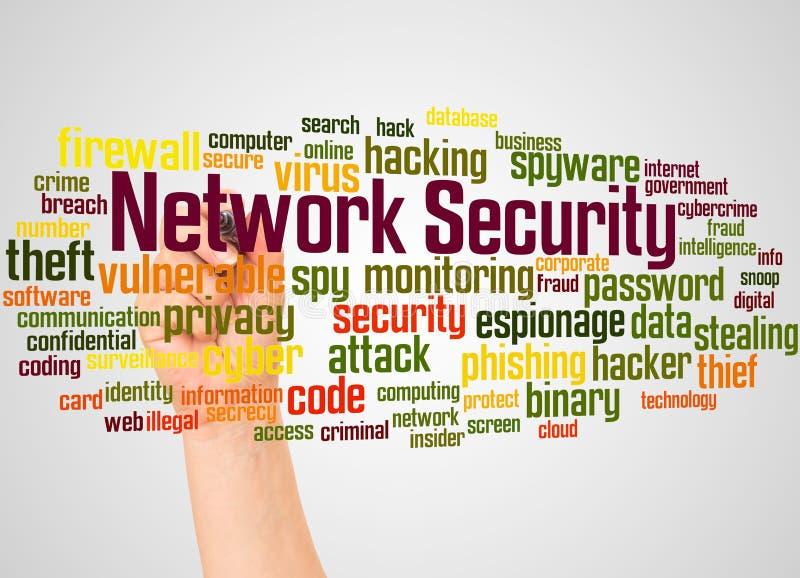 Nuage et main de mot de sécurité de réseau avec le concept de marqueur illustration stock