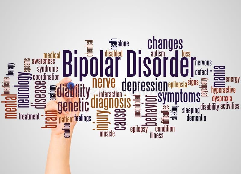 Nuage et main de mot de trouble bipolaire avec le concept de marqueur illustration de vecteur
