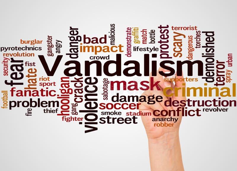 Nuage et main de mot de vandalisme avec le concept de marqueur illustration stock