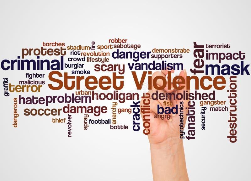 Nuage et main de mot de violence de rue avec le concept de marqueur illustration libre de droits