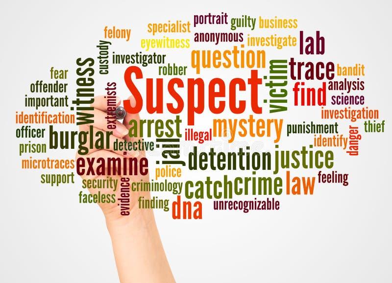 Nuage et main suspects de mot avec le concept de marqueur photos libres de droits