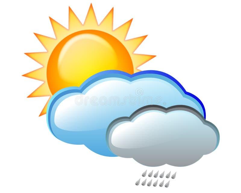 Nuage et pluie de Sun illustration stock