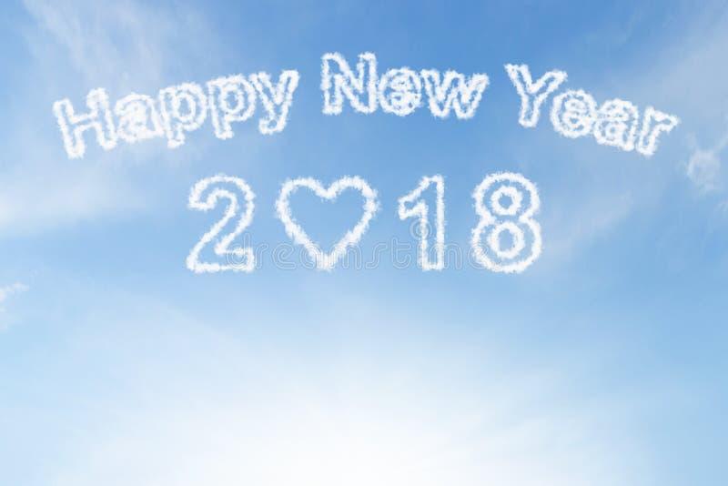 Nuage et soleil de la bonne année 2018 sur le ciel photo stock