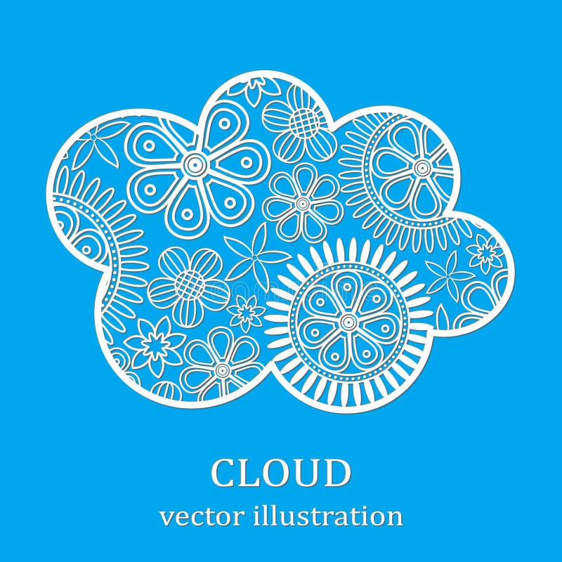Nuage floral de coupe de blanc sur le fond bleu illustration de vecteur