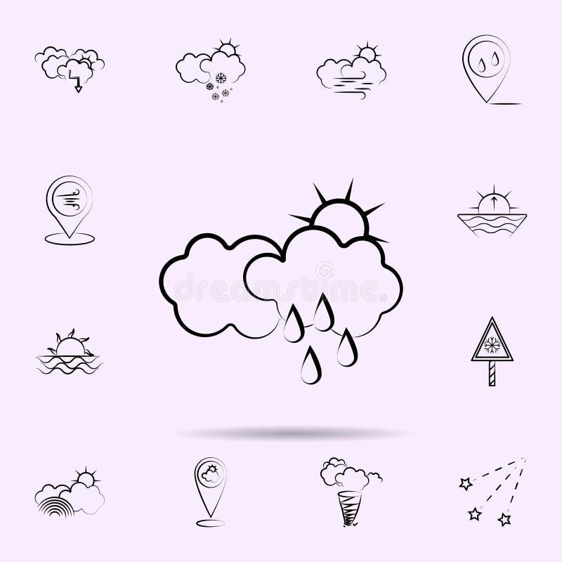 Nuage, le soleil, ic?ne de pluie Survivez ? l'ensemble universel d'ic?nes pour le Web et le mobile illustration libre de droits