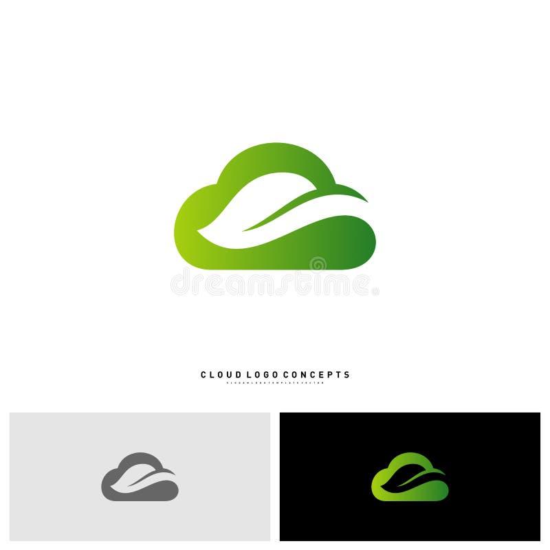 Nuage Logo Design Concept Vector de nature Nuage avec la feuille Logo Template Vector illustration libre de droits