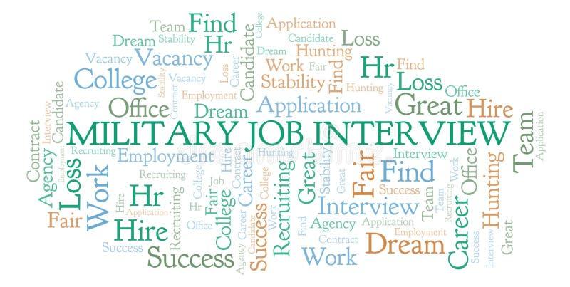 Nuage militaire de mot d'entrevue d'emploi illustration stock