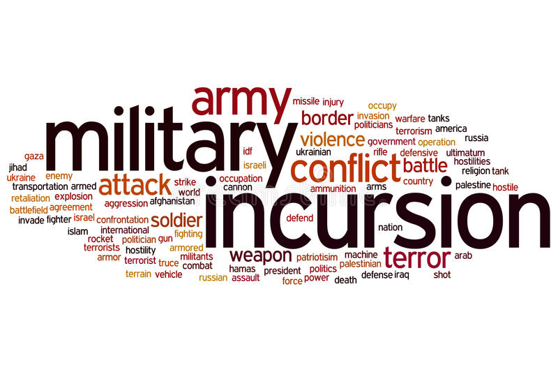 Nuage militaire de mot d'incursion illustration de vecteur