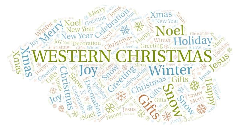 Nuage occidental de mot de Noël illustration stock