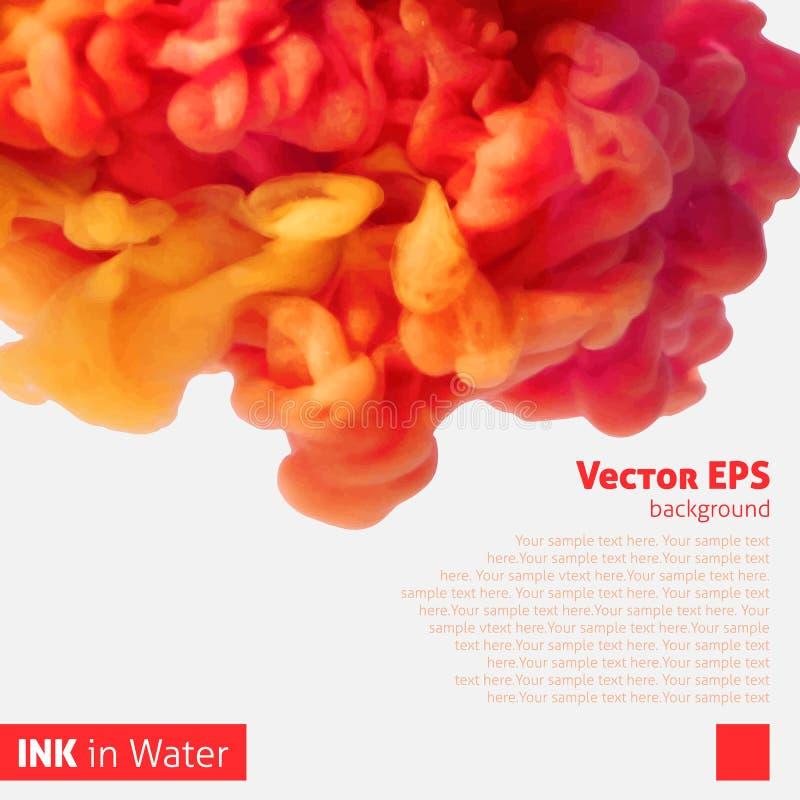 Nuage orange d'encre de couleur dans l'eau illustration stock