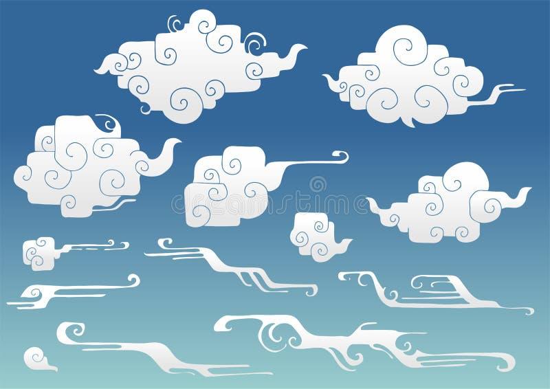 nuage oriental à angle droit arrondi ou ensemble de nuage ou chinois japonais de nuage et de vent de dessin de griffonnage d'élém illustration de vecteur