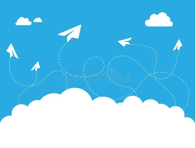 Nuage plat de papier sur le concept de construction de vecteur de ciel bleu illustration de vecteur