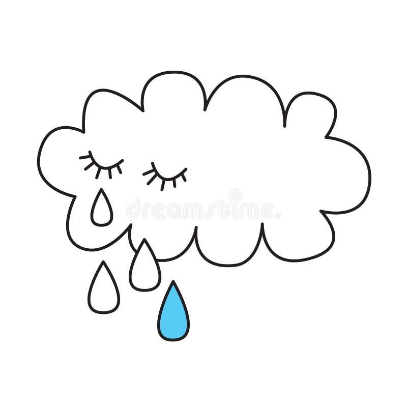 Nuage pleurant avec des larmes illustration stock
