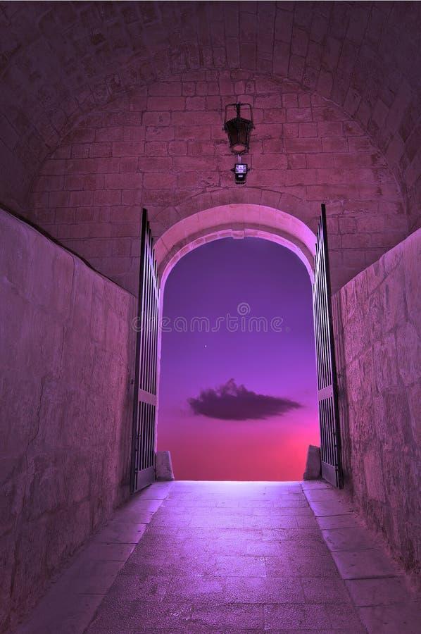 Nuage pourpre sur le ciel rose avec la petite étoile photos libres de droits