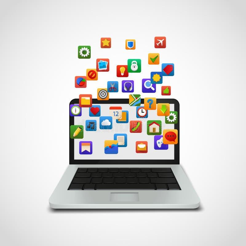 Nuage social d'icônes de réseau avec l'ordinateur portable illustration libre de droits