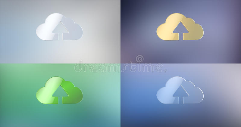 Nuage vers le haut de l'icône 3d image libre de droits