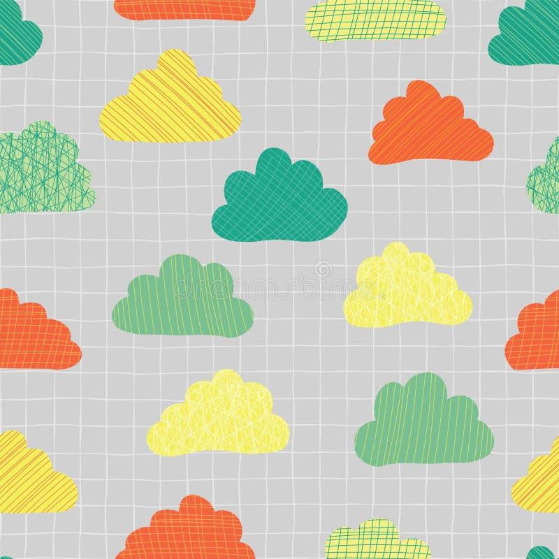Nuages à l'arrière-plan sans couture de modèle de vecteur de ciel Teal, vert, orange, et nuages mignons jaunes de griffonnage sur illustration de vecteur