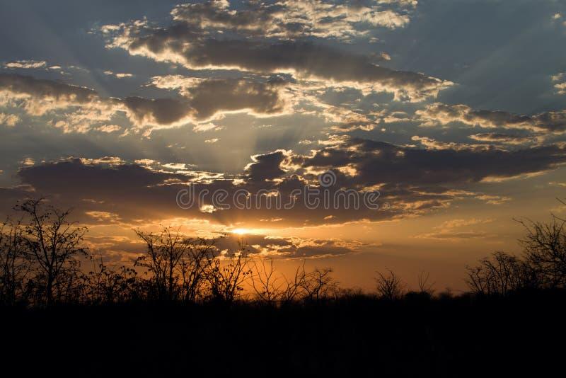 Nuages au-dessus du broyage au coucher du soleil, Botswana image libre de droits