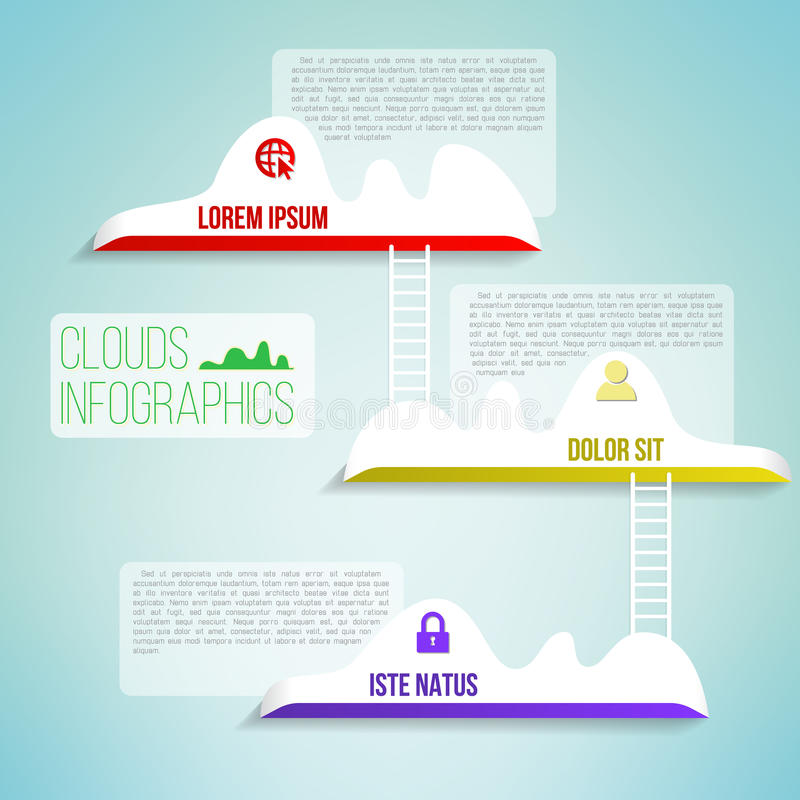 Nuages avec l'infographics propre simple d'échelle illustration libre de droits