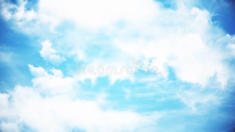 Nuages avec le soleil d'après-midi Animation des nuages dans le ciel bleu photographie stock