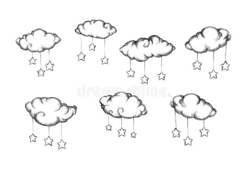 Nuages avec les étoiles ci-jointes illustration stock