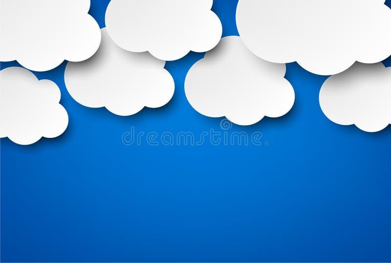 Nuages blancs de papier sur le bleu. illustration libre de droits