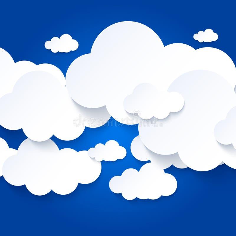 Nuages blancs sur le fond de ciel bleu illustration stock