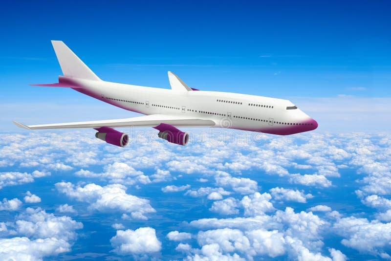 Nuages civils de vol de modèle de l'avion 3d de passagers illustration stock