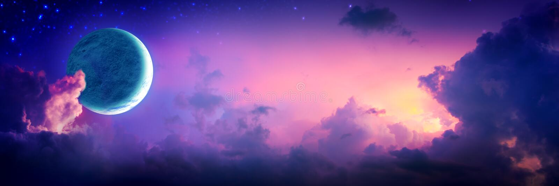 Nuages colorés de Crescent Moon With Stars And photo libre de droits