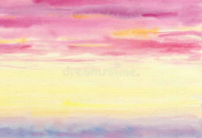 Nuages colorés Le ciel est au coucher du soleil illustration stock