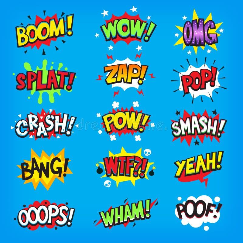 Nuages comiques de la parole avec des effets sonores illustration libre de droits