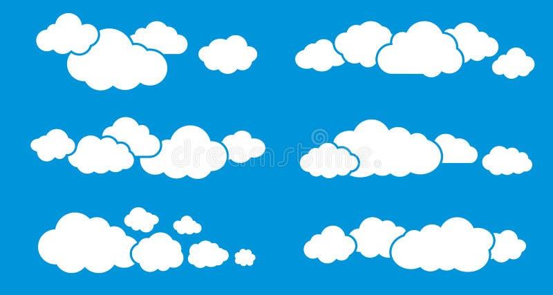 Nuages d'isolement sur le bleu Opacifie le ramassage illustration stock