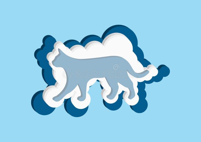 nuages 3D sous forme de  de Ñ à Dirigez la couleur bleue et blanche de nuage d'icônes sur un fond bleu illustration libre de droits