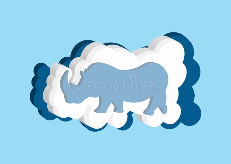 nuages 3D sous forme de rhinocéros d'Afrique Dirigez la couleur bleue et blanche de nuage d'icônes sur un fond bleu illustration libre de droits