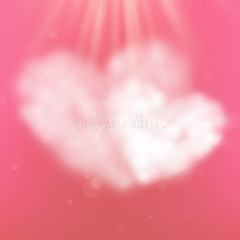 Nuages dans la forme de coeur sur le ciel rose clair pour le jour ou épouser de valentines heureux l'espace de concept et de copi illustration de vecteur