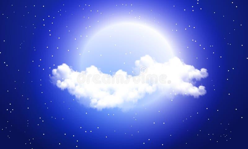 Nuages dans la perspective de la pleine lune illustration libre de droits