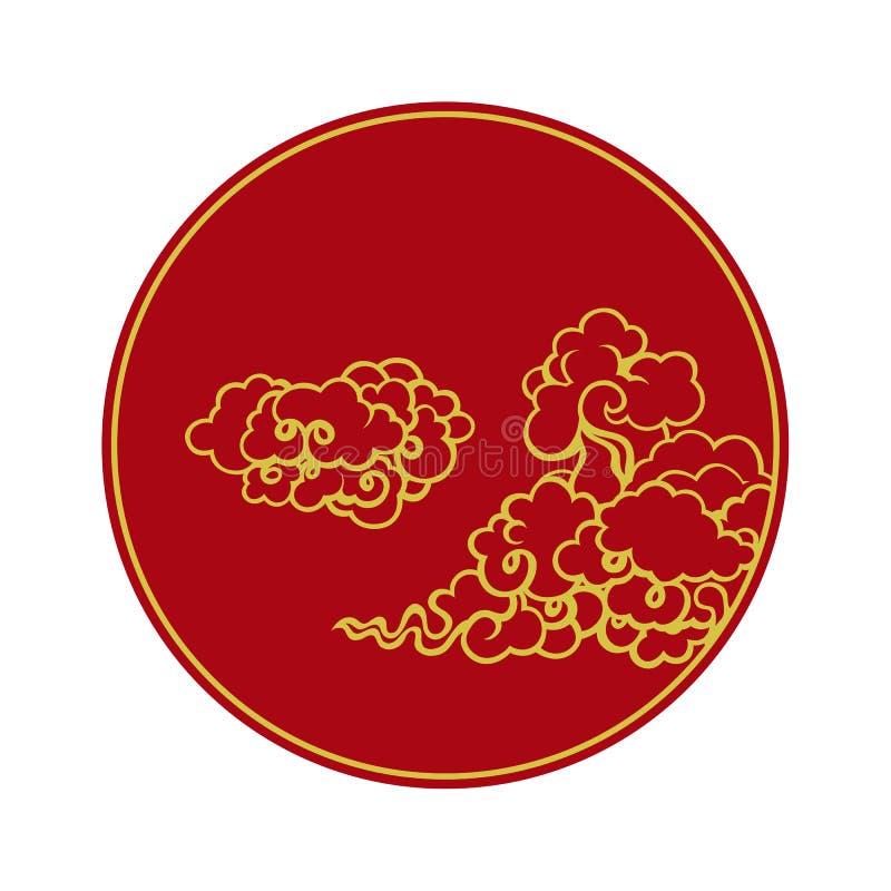 Nuages dans le style chinois en cercle illustration stock