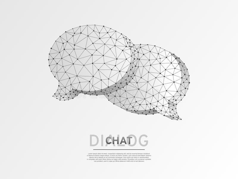 Nuages de causerie de dialogue Origami d'abrégé sur communication de personnes de technologie de l'illustration 3d numérique de W illustration libre de droits