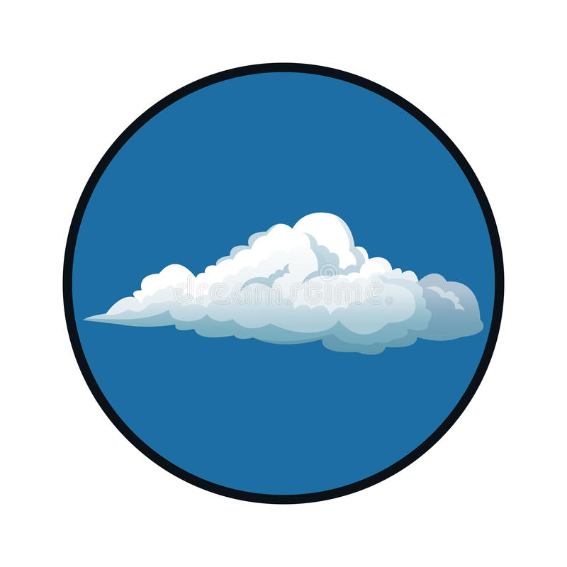 Nuages de ciel bleu avec le fond de blanc de cercle illustration de vecteur
