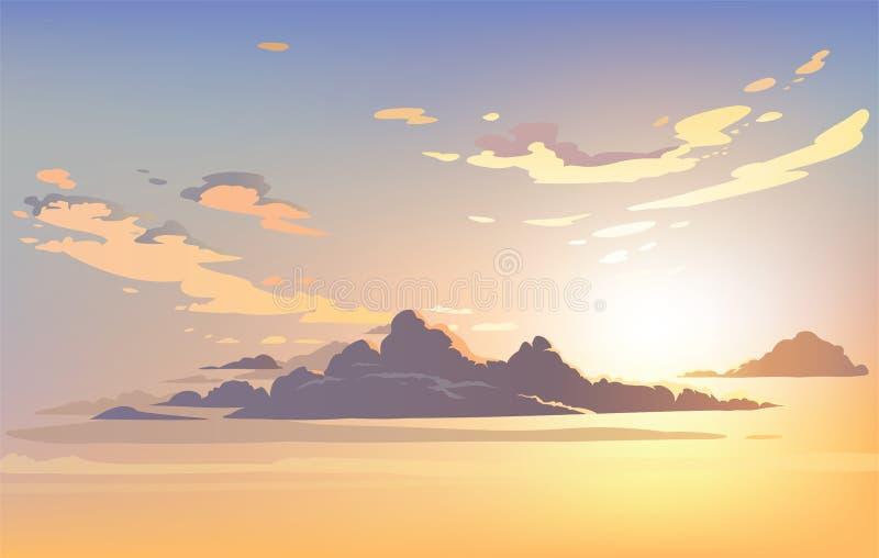 Nuages de ciel de paysage de vecteur Avion dans le ciel illustration libre de droits