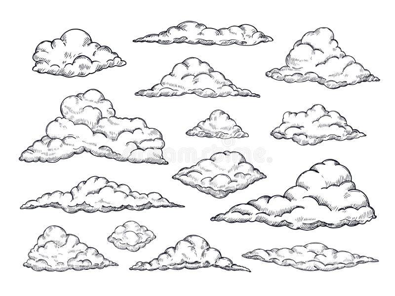 Nuages de croquis Cloudscape tiré par la main de ciel Contour esquissant la collection de vecteur de cru de nuage illustration libre de droits