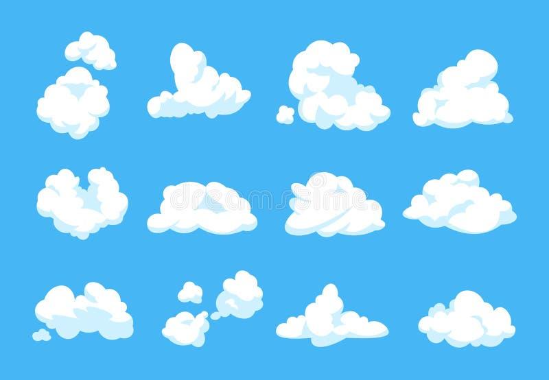 Nuages de dessin animé Forme nuageuse plate de 2D élément blanc pelucheux de cru de l'atmosphère de ciel de panorama de ciel bleu illustration de vecteur