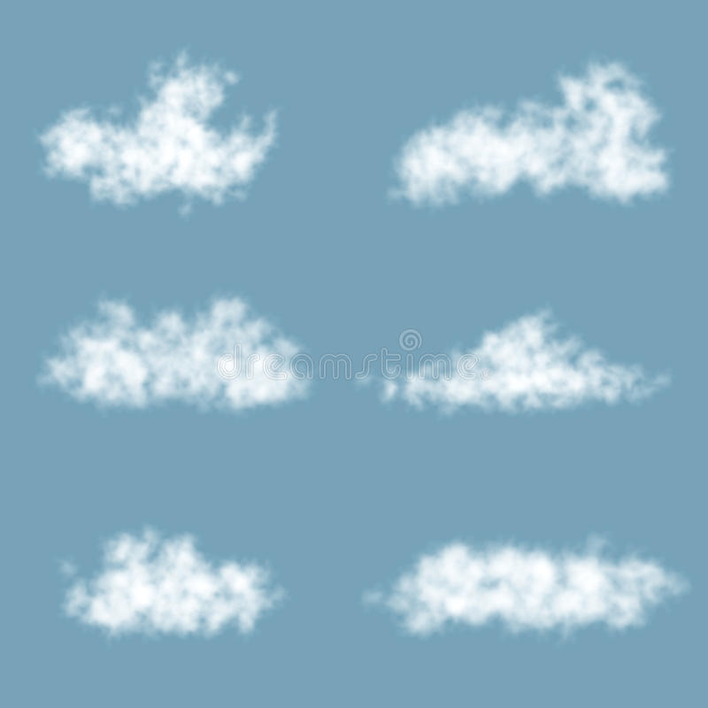 Nuages de gradient de transparent de vecteur réglés illustration stock