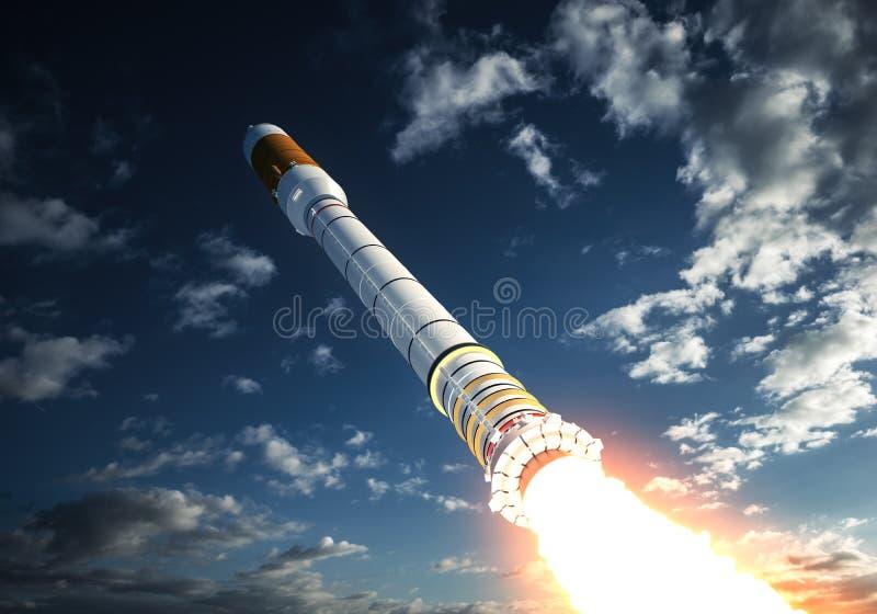 Nuages de Rocket Takes Off In The de transporteur illustration stock