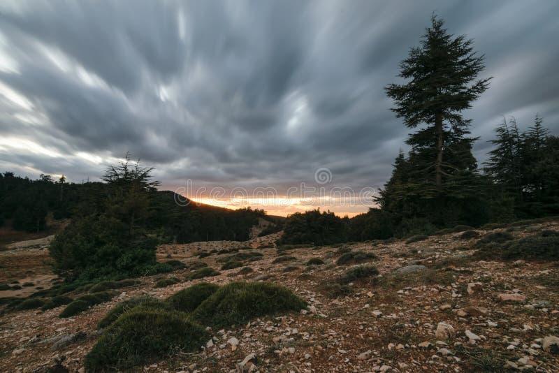 Nuages de tempête dans un paysage morne, Ifrane, Maroc photographie stock