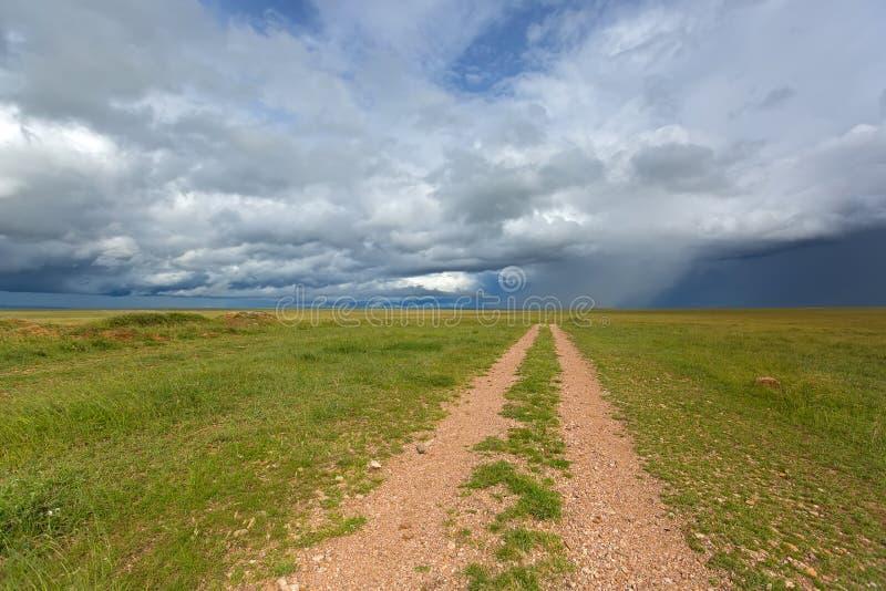 Nuages de tempête de pluie approchant des plaines de la savane de Serengeti chez Serengeti en Tanzanie, Afrique photographie stock libre de droits
