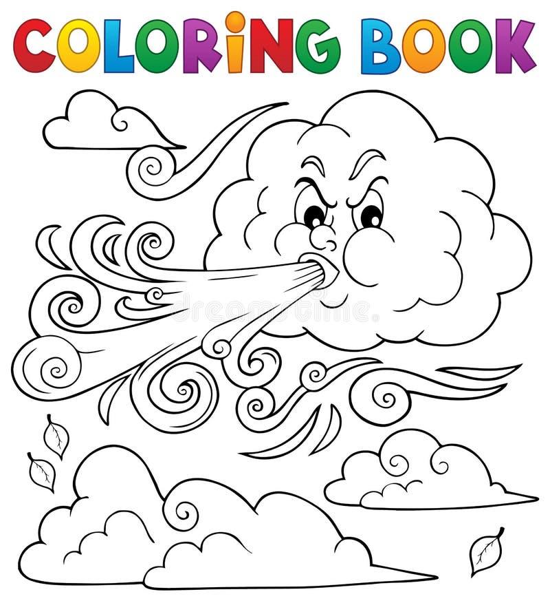 Nuages du livre de coloration et thème du vent 1 illustration libre de droits